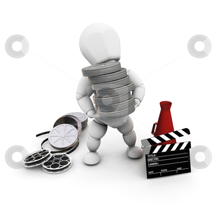 Movie person stock photo, 3D render of someone with movie items by Kirsty Pargeter