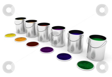 Paint cans stock photo, 3D render of paint cans by Kirsty Pargeter