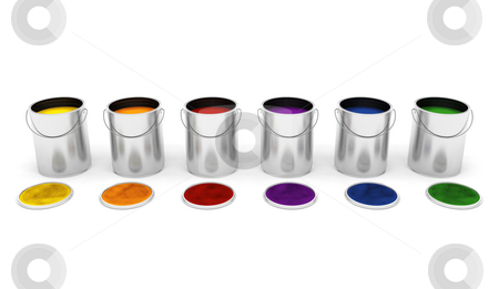Paint tins stock photo, 3D render of various coloured paint tins by Kirsty Pargeter