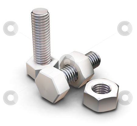 Nuts and bolts stock photo, 3D render of nuts and bolts by Kirsty Pargeter