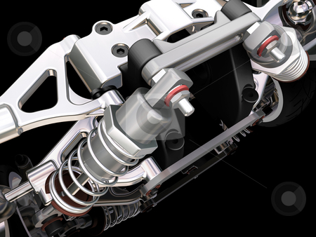 Car suspension stock photo, 3D render of a car suspension by Kirsty Pargeter