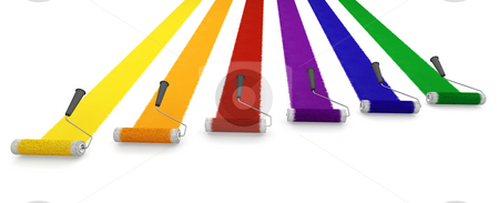 Paint rollers stock photo, 3D render of paint rollers by Kirsty Pargeter