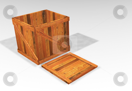 Wooden crate stock photo, 3D render of an open wooden crate by Kirsty Pargeter