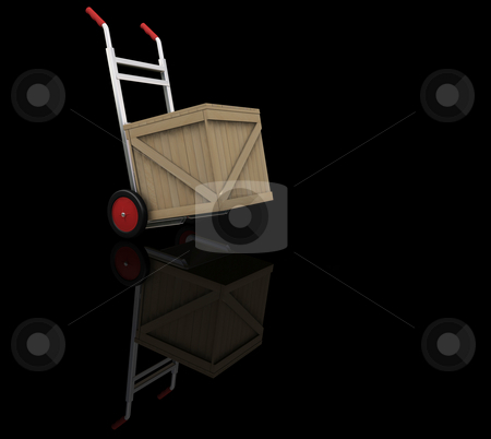 Hand truck with crate stock photo, 3D render of a hand truck with a crate by Kirsty Pargeter