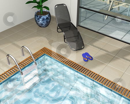 Pool house stock photo, 3D render of a pool house by Kirsty Pargeter