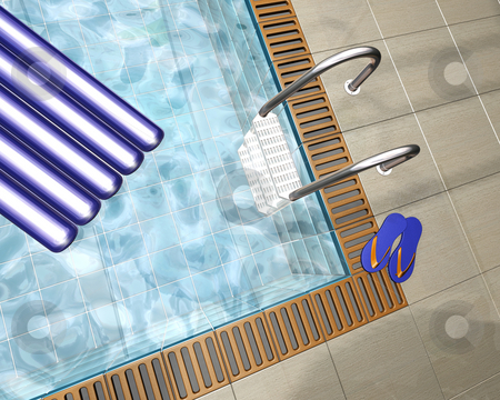 Swimming pool stock photo, 3D render of a swimming pool in a pool house by Kirsty Pargeter