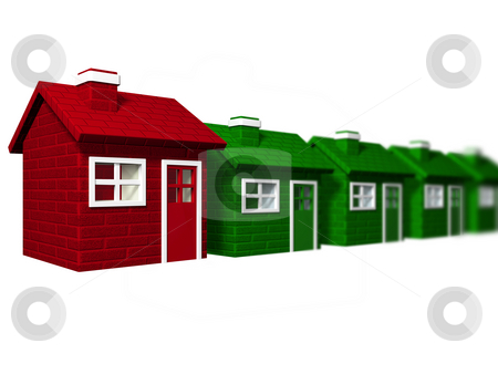 Individuality stock photo, One red house standing out from a line of green houses by Kirsty Pargeter