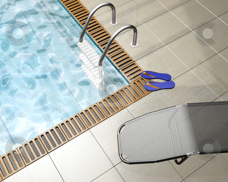 Pool house stock photo, 3D render of a pool house interior by Kirsty Pargeter
