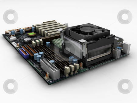 Motherboard stock photo, 3D render of a motherboard by Kirsty Pargeter