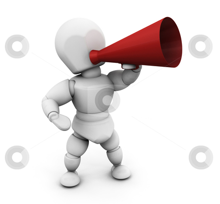 Person with megaphone stock photo, 3D render of someone shouting in a megaphone by Kirsty Pargeter