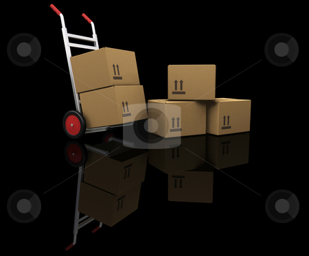 Hand truck with boxes stock photo, 3D render of a hand truck with boxes by Kirsty Pargeter