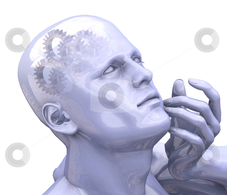 Thinking stock photo, 3D render of a mans head with gears by Kirsty Pargeter