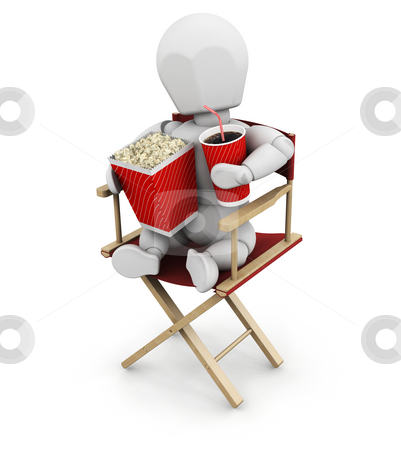 Movie person stock photo, 3D render of someone holding movie items by Kirsty Pargeter