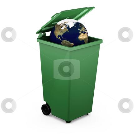 Globe in a bin stock photo, 3D render of a globe in a bin by Kirsty Pargeter