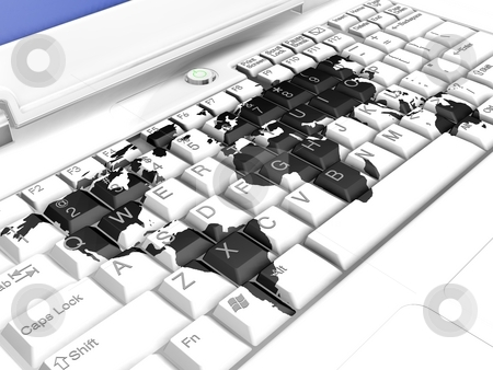 World on Keyboard stock photo,  by Kirsty Pargeter
