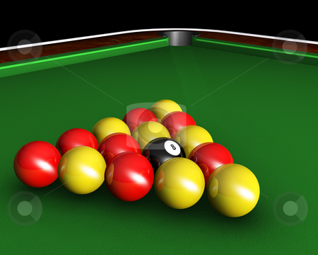 Pool balls on table stock photo, 3D render of pool balls on pool table by Kirsty Pargeter