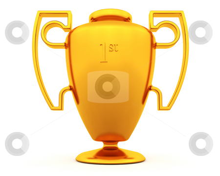 Gold trophy stock photo, 3D render of a gold trophy by Kirsty Pargeter