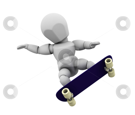Skater stock photo, 3D render of someone skateboarding by Kirsty Pargeter