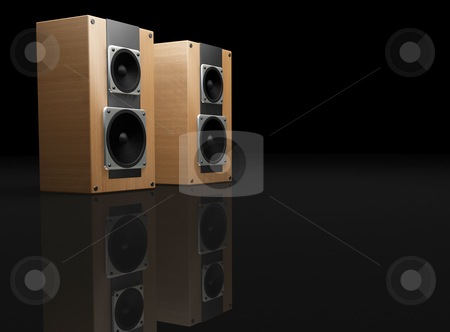 Speaker stock photo, 3D render of speakers with room for copy by Kirsty Pargeter