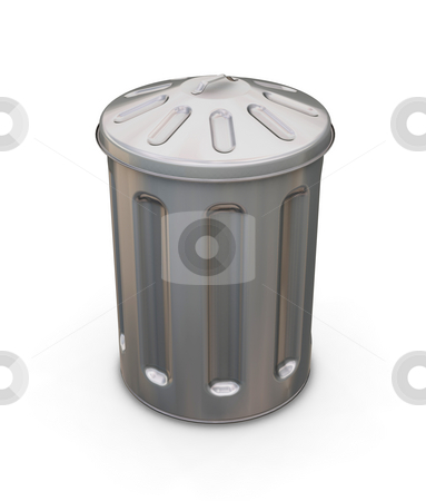 Trash can stock photo, 3D render of a trash can by Kirsty Pargeter