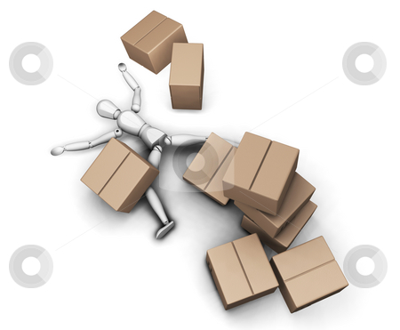 Man with boxes stock photo, 3D render of someone flattened by a stack of boxes by Kirsty Pargeter