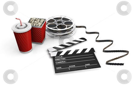 Movie night stock photo, 3D render of movie items by Kirsty Pargeter