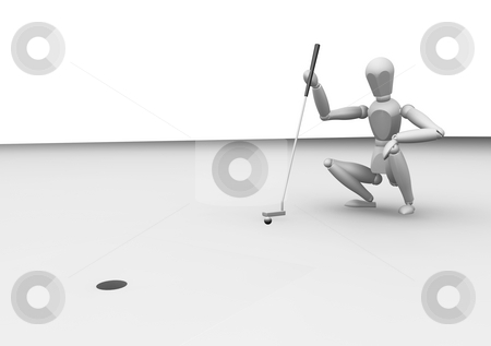 Lining up the putt stock photo, 3D render of a golfer lining up a putt shot by Kirsty Pargeter