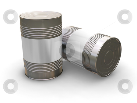 Blank cans stock photo, 3D render of tin cans with a blank label by Kirsty Pargeter
