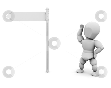 Decisions stock photo, 3D render of someone stood by a blank sign post by Kirsty Pargeter