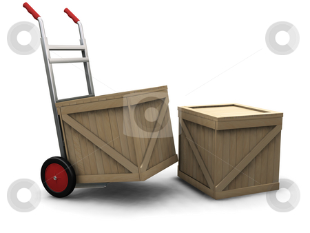 Hand truck with crates stock photo, 3D render of a hand truck with crates by Kirsty Pargeter