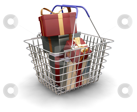 Christmas presents stock photo, 3D render of a shopping trolley full of Christmas presents by Kirsty Pargeter