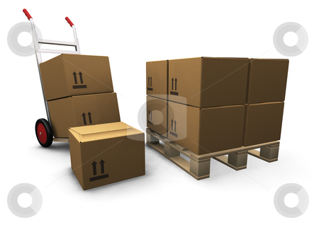 Hand truck with boxes stock photo, 3D render of a hand truck and a stack of boxes by Kirsty Pargeter