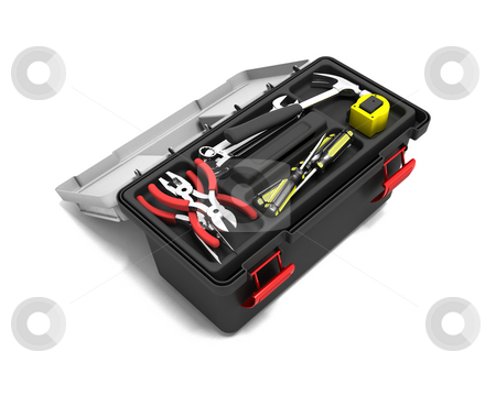 Toolbox stock photo, 3D render of a toolbox full of tools by Kirsty Pargeter