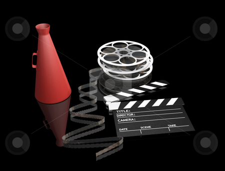 Movie items stock photo, 3D render of movie items by Kirsty Pargeter