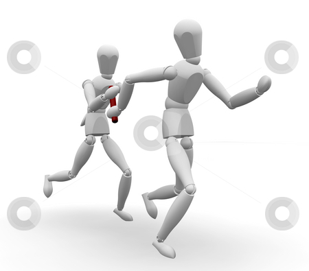 Passing the baton stock photo, 3D render of runners passing the baton by Kirsty Pargeter
