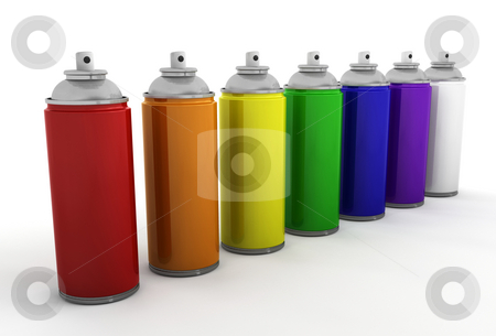 Spray cans stock photo, 3D render of spray cans by Kirsty Pargeter