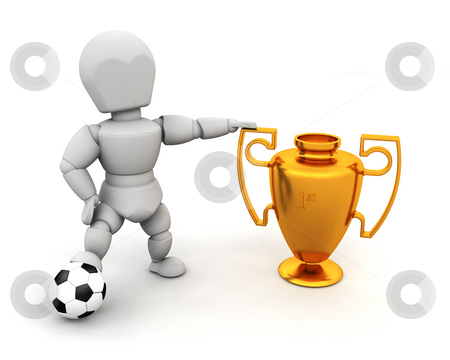 Winner stock photo, 3D render of someone with a football and a first place trophy by Kirsty Pargeter