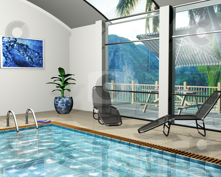 Pool house stock photo, 3D render of the interior of a pool house by Kirsty Pargeter