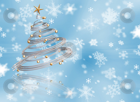Christmas background stock photo, 3D render of a metallic Christmas tree on a snowflake background by Kirsty Pargeter