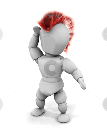 Punk stock photo, 3D render of a punk rocker with a mohican by Kirsty Pargeter