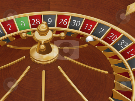 Lucky seven stock photo, Roulette wheel with the ball on number seven by Kirsty Pargeter