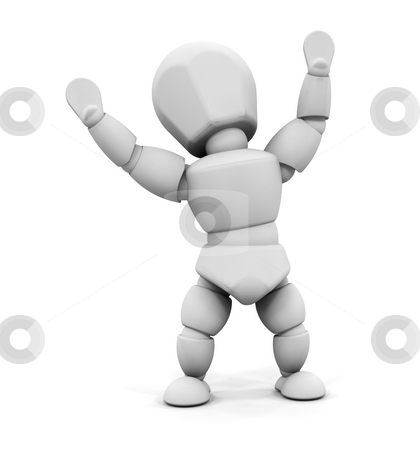 Happy person stock photo, 3D render of someone with their arms raised in joy by Kirsty Pargeter