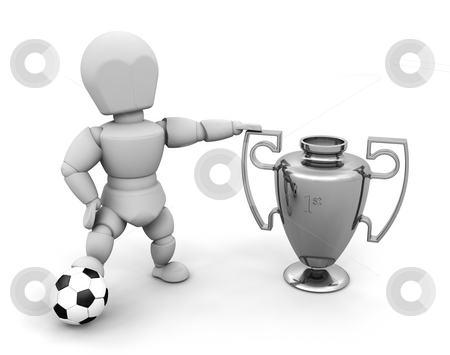 Winner stock photo, 3D render of someone with a trophy and a football by Kirsty Pargeter