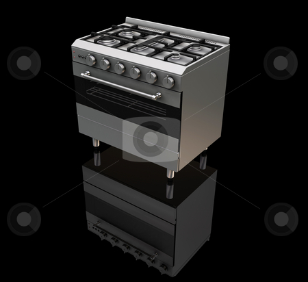 Oven stock photo, 3D render of a gas oven on a black background by Kirsty Pargeter