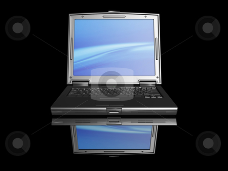 Laptop stock photo, 3D render of a black laptop on a black background by Kirsty Pargeter