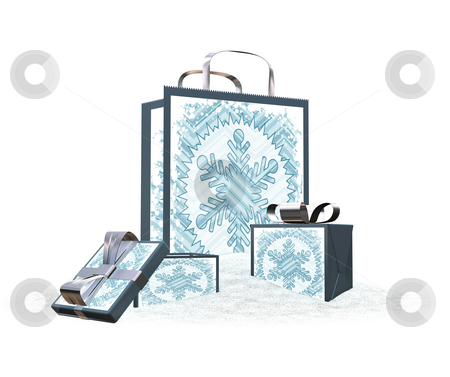 Snowy gift bags and boxes stock photo, 3D render of gift bag and boxes in snow by Kirsty Pargeter