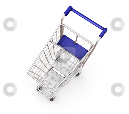 Shopping trolley stock photo, 3D render of a shopping trolley by Kirsty Pargeter