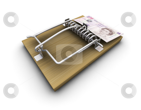 Money trap stock photo, 3D render of a mousetrap with money on it by Kirsty Pargeter