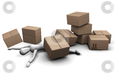 Man under boxes stock photo, 3D render of a man under a pile of fallen boxes by Kirsty Pargeter