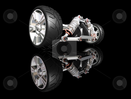 Car suspension stock photo, 3D render of car suspension with wheel by Kirsty Pargeter